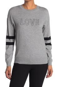 philosophy Love Striped Sleeve Crew Neck Sweater