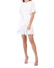 Made In Usa Ivory Stretch Crepe Andora Dress