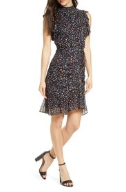 Sam Edelman Ditzy High Neck Ruched Skirt Dress
