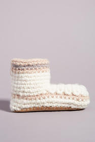 Anthropologie Striped Knit Slipper Boots