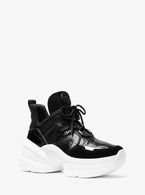 Michael Kors Olympia Leather Mixed-Media Trainer