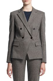Theory Abbot Puppytooth Check Cashmere Double Brea