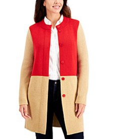 Cotton Colorblocked Long Button Cardigan, Created