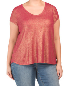 Plus Linen Metallic Shine T-shirt