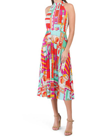 Abstract Print Halter Dress