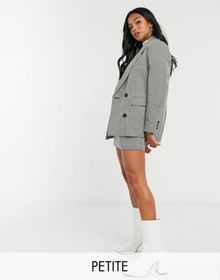 Topshop Petite check jacket in mono