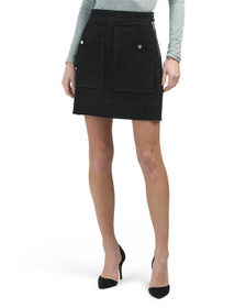 Suede Utility Skirt