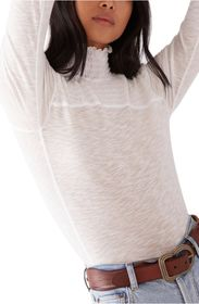 Free People Caroline Smocked Turtleneck Top