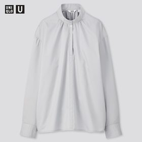 Women U Cotton Satin Stand Collar Long-Sleeve Shir