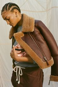UO Faux Leather Cropped Aviator Jacket