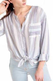 Splendid Sea Stripe Print Button Down Shirt