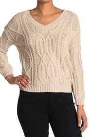 philosophy Cable Knit V-Neck Sweater