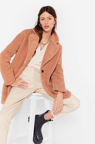 Nasty Gal Stone Long December Oversized Faux Fur C