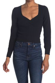 ASTR the Label Long Sleeve Sweetheart Neck Cropped