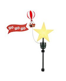 Animated Tree Topper- Santa in Balloon with banner
