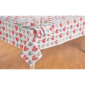 Printed Hearts Cotton Tablecloth
