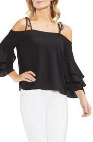 Vince Camuto Cold Shoulder Ruffle Sleeve Top
