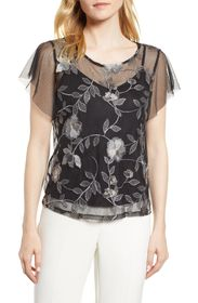 Vince Camuto Embroidered Swiss Dot Blouse