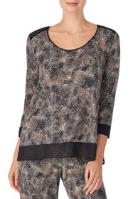 Donna Karan Scoop Neck 3/4 Sleeve Lounge Top