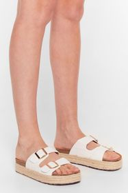 Nasty Gal White Step on Up Faux Leather Croc Slide
