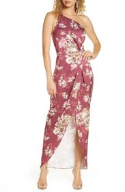 WAYF The Lainey Floral One-Shoulder Twist Gown