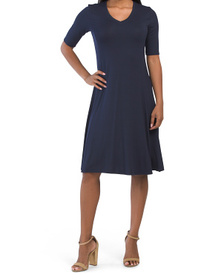 Elbow Sleeve V-neck Flared Dress