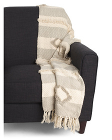 Tufted Fringe Trim Throw