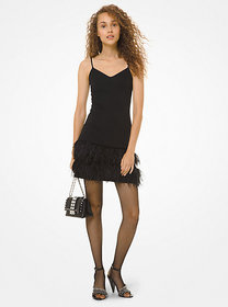 Michael Kors Feather-Embroidered Matte Jersey Slip