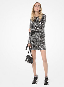 Michael Kors Leopard Sequined Long-Sleeve Dress