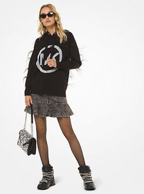 Michael Kors Feather-Embroidered Logo Hoodie