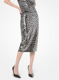 Michael Kors Leopard Sequined Pencil Skirt