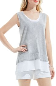 Vince Camuto Mixed Media Layered Tank Top