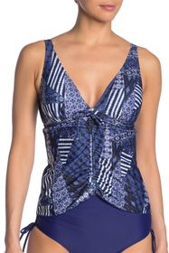 Nicole Miller Ruched Mixed Print Tankini Top