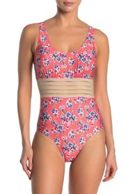 Nicole Miller One-Piece Sleeveless Floral Swimsuit