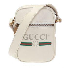 Gucci Gucci Men's Gucci Print Leather Shoulder Bag