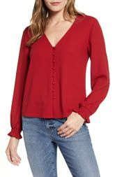1.State Button Front Blouse