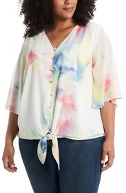 Vince Camuto Watercolor Tie Front Bell Sleeve Chif