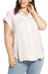 Vince Camuto Rumpled Satin Henley Blouse