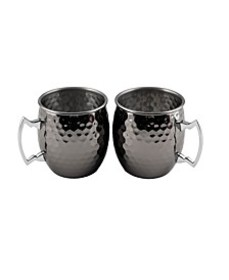 2 Pack Of 20 Oz Faceted Black Moscow Mule Mugs