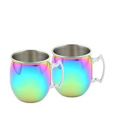 2 Pack of Rainbow Moscow Mule Mugs, 20 Oz