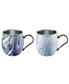 20oz Navy and Light Blue Swirl Moscow Mule Mugs -