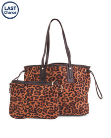 Leopard Print Tote With Inner Bag