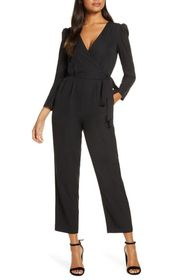 Julia Jordan Deep V-Neck Wrap Front Jumpsuit
