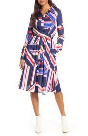 Julia Jordan Long Sleeve Geometric Stripe Print Dr
