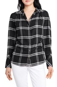 Vince Camuto Windowpane Plaid Button Front Blouse