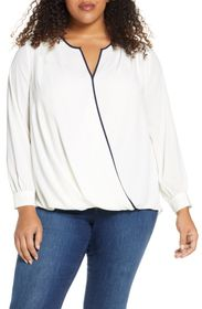 Vince Camuto Wrap Front Long Sleeve Georgette Blou