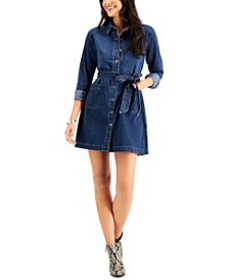 Belted Denim Dress, Created for Macy's