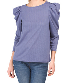Ruched Three-quarter Sleeve Top