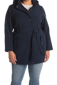 DKNY Soft Shell Belted & Hooded Jacket