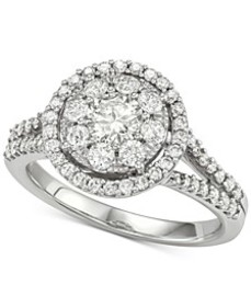 Diamond Halo Cluster Engagement Ring (1-1/4 ct. t.